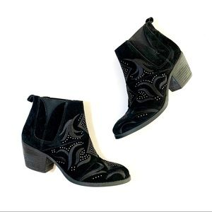 Fergalicious Black Suede Ankle Boot Studded 7.5
